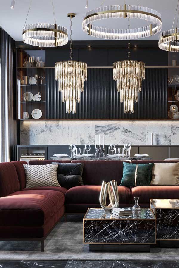 غرف معيشة وغرف جلوس لـ تصاميم فلل فخمة من تصاميم Studia 54 ديكورات أرابيا